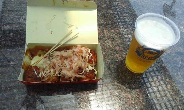 takoyaki and beer at narita airport, Tokyo, japan