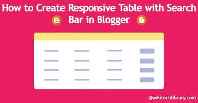 How to Create Responsive Table with Search Bar in Blogger