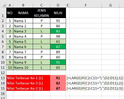 Gabungan Rumus Large dan IF Excel