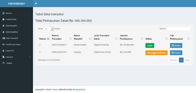 Aplikasi Pembayaran Zakat PHP