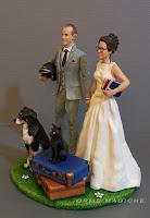 statuine matrimonio sposo casco moto sposa occhiali cani e gatti orme magiche