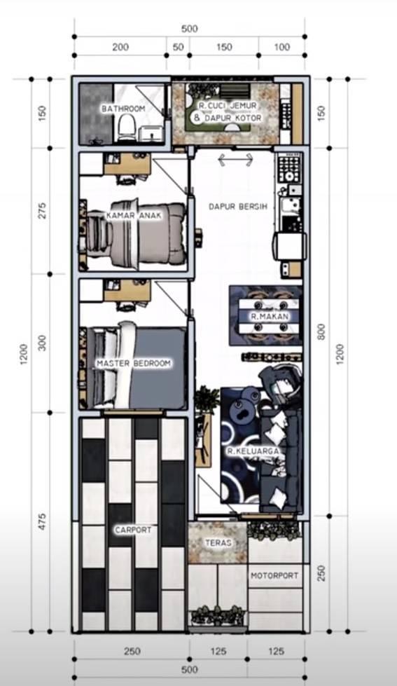 desain rumah 5x12 3 kamar tidur