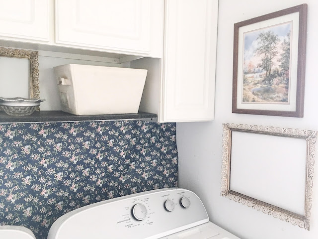 vintage blue and pink laundry room decor