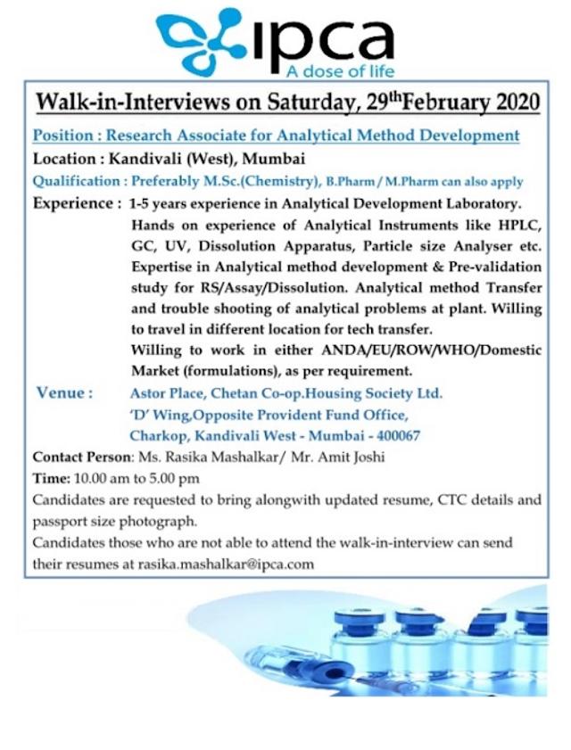 Ipca Laboratories Walk in Interviews Research Associates On 29th Feb 2020 @Mumbai