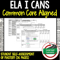 English I Cans, Students Self Assessment of Mastery, Students Mastery, Writing I Cans, Reading I Cans