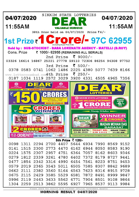 Sikkim State Lotteries 04-07-2020 Lottery Sambad Result 1155 AM