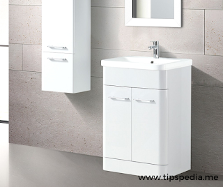 white bathroom cabinet wall