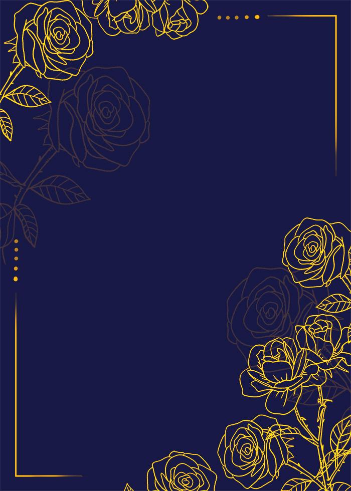 Golden Rose Flower Ornate Floral Editable PSD