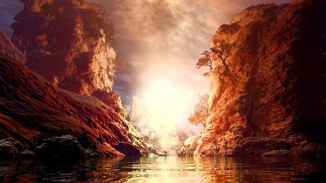 Paisagem, Rochas, Lago, Arte, Sol
