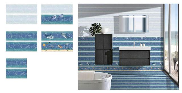 Blue Accent Tile Bathroom