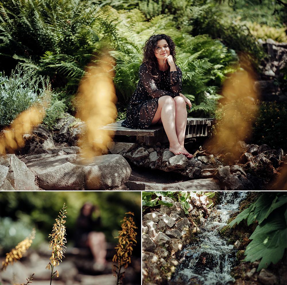 kobieta, ogród botaniczny, Lublin, fotograf, skały, mostek