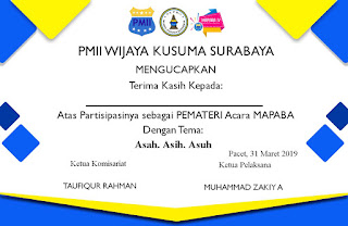 contoh sertifikat peserta mabapa pmii 2019