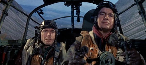 Angus Lennie and Cliff Robertson in a cockpit