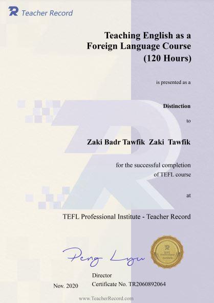 I also studied TEFL at TeacherRecord, China.