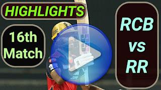 RCB vs RR 16th Match 2021