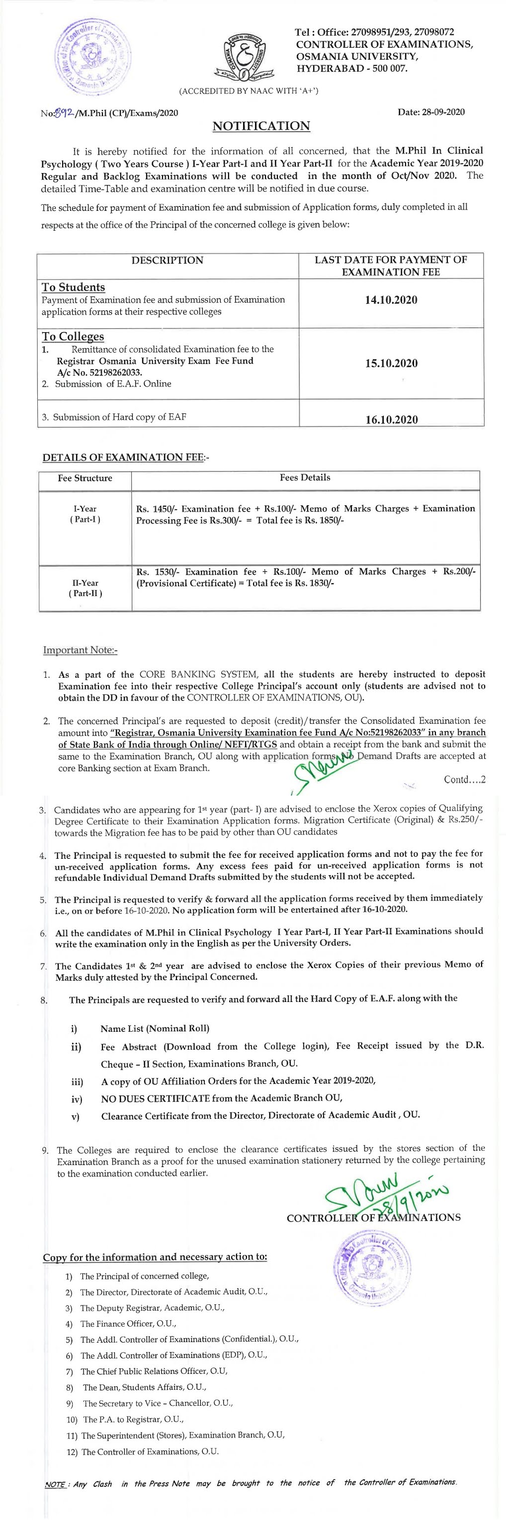 Osmania University M.Phil in Clinical Psychology 1st & 2nd Year Oct 2020 Exam Fee Notification