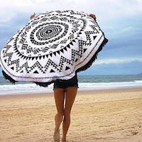 Serviettes de plage rondes amazon noir et blanc