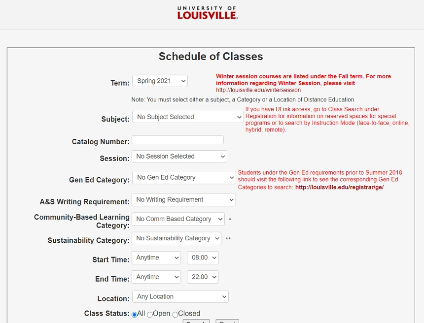 uofl Schedule of Classes