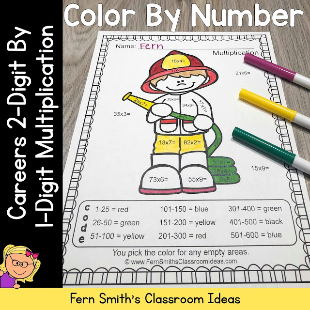 Click Here to Grab This Smaller Resource, Color By Number Careers 2-Digit by 1-Digit Multiplication