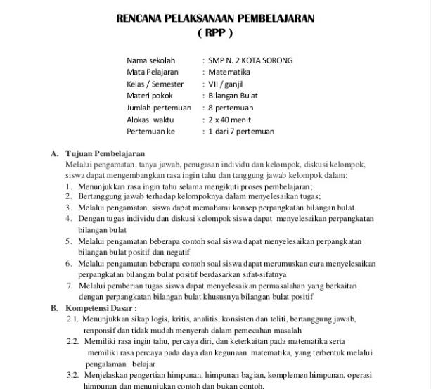 RPP Seni Budaya SMP/MTs Kelas 7 Kurikulum 2013 Revisi terbaru Semester 1 Semester 2