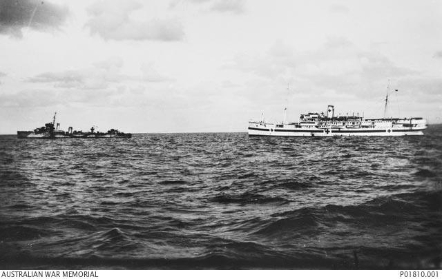 HMAS Waterhen towing hospital ship Vita during World War II worldwartwo.filminspector.com