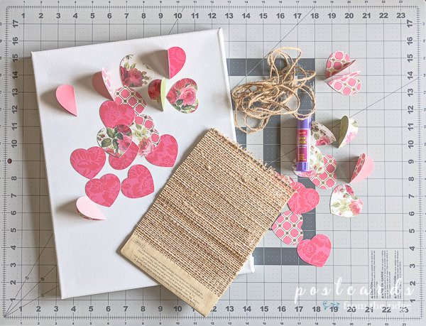 paper hearts and supplies need for 3-d paper heart wall art