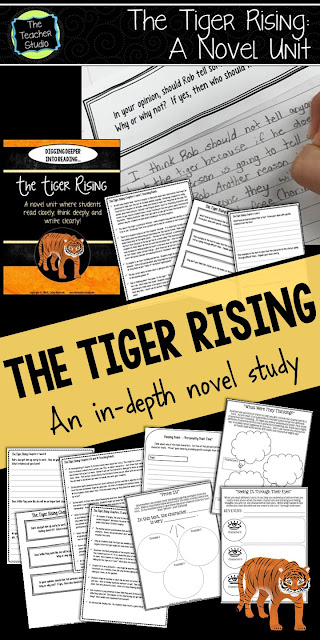 The Tiger Rising, novel study, teaching character, read aloud, book clubs, literature circles, Kate DiCamillo, reader's notebook, reader's response, response to reading
