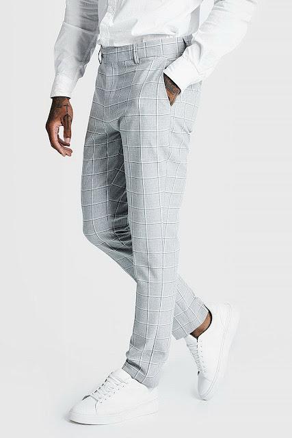 Windowpane Check Smart Formal Trouser