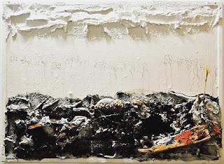 Ángel Solano, de la serie espacios inhabitables (tríptico) Detalle, 140 x 54 cm, mixta sobre madera, 2016.