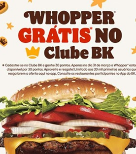 Cadastrar Clube BK Whopper Grátis