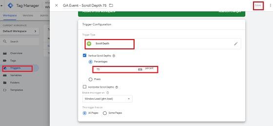 Scroll Depth تحديد المشغل