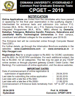 TS CPGET 2019 Notification Apply Online for Telangana Common Post Graduate Entrance Test Exam Pattern and Syllabus