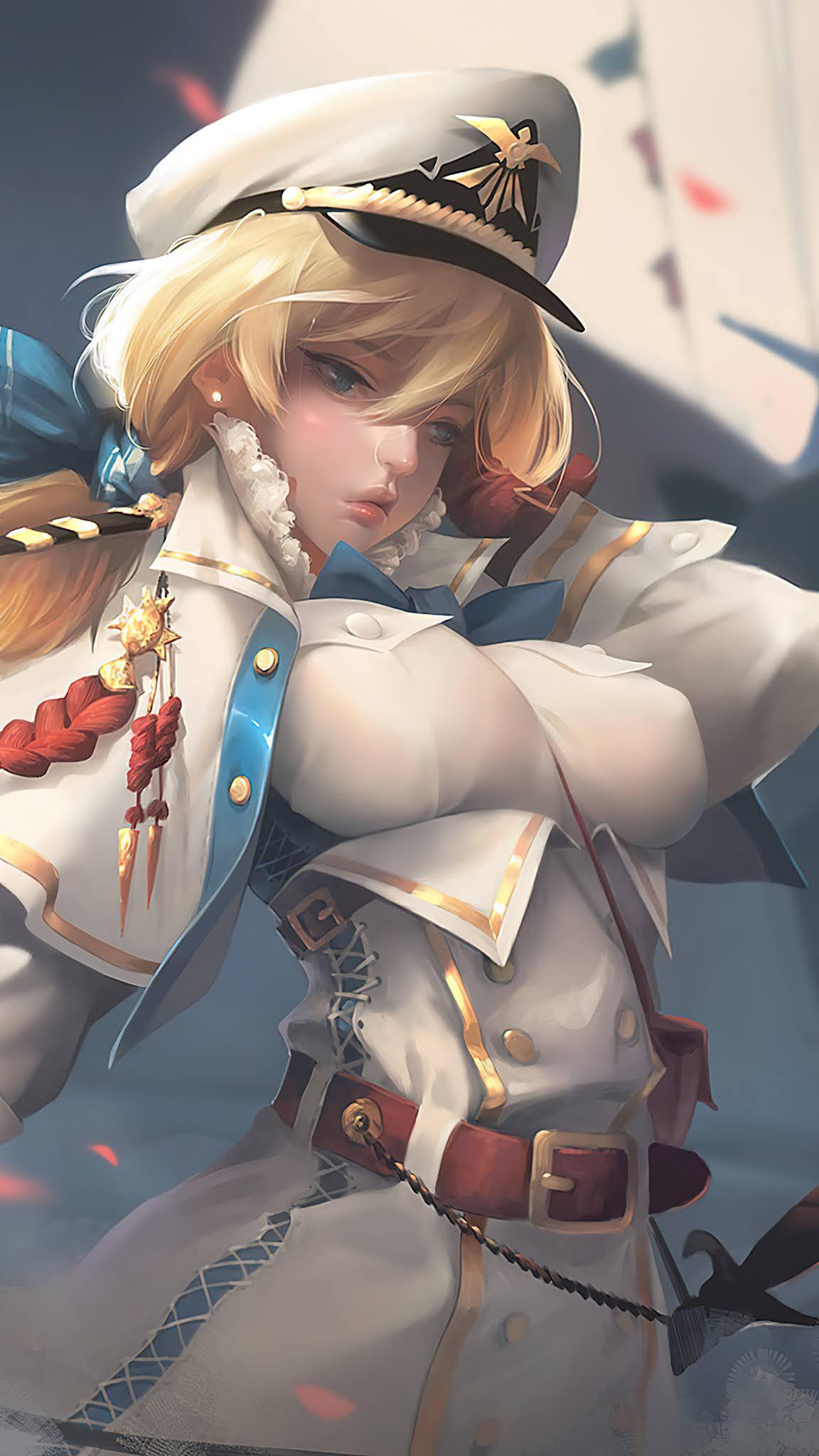 Anime Girl Blonde Naval Fleet Captain Mobile Wallpaper