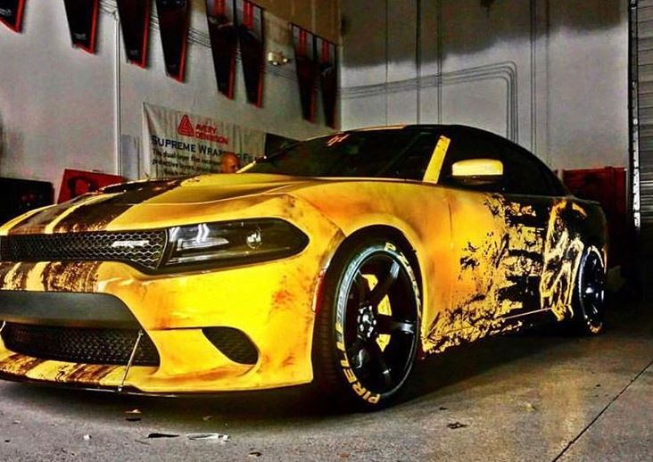 Hellcat Charger Wrapped >> Just A Car Guy: pretty cool vinyl wrap on this Hellcat Charger