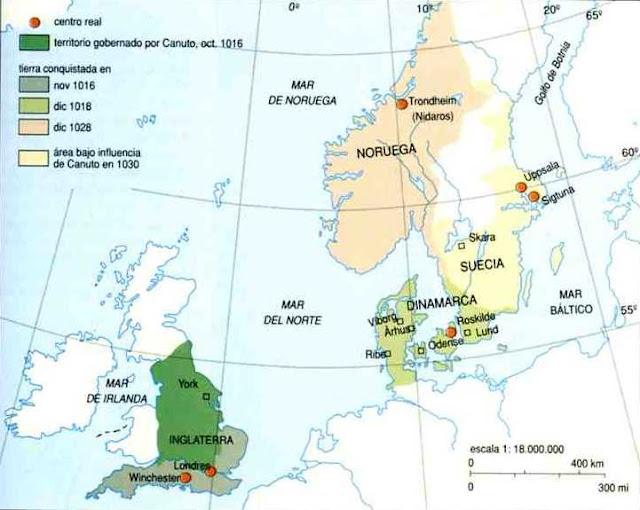 Resultado de imagen de mapa imperio de canuto de dinamarca
