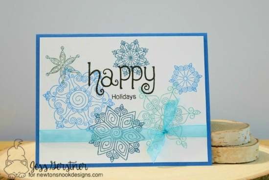 Christmas Favorites Week - Day 3    Snowflake Christmas card by Jess Gerstner    Beautiful Blizzard stamp set  by Newton's Nook Designs #newtonsnook #christmascards