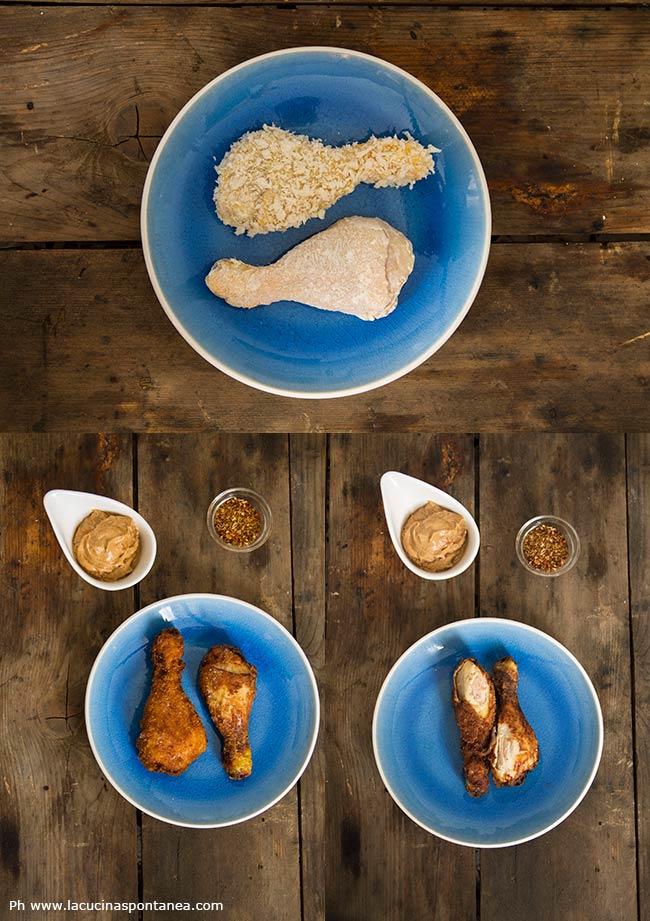 Foto di cosce di pollo fritte, impanate in due modi diversi