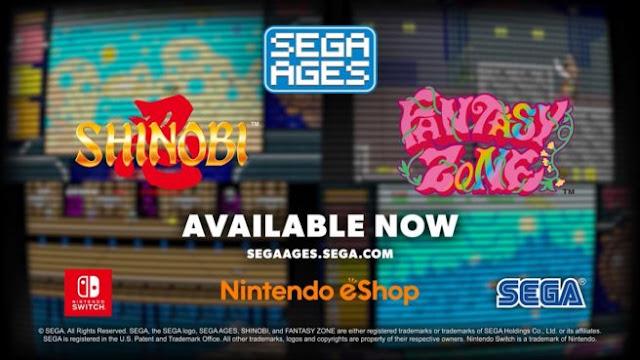 SEGA Ages Shinobi e Fantazy Zone (Switch) recebem trailer de lançamento