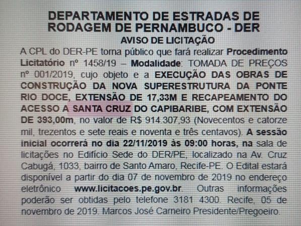 Licitação para construção de nova ponte em Santa Cruz é publicada no Diário Oficial