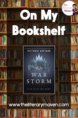 In War Storm by Victoria Aveyard, narration alternated primarily between Mare, Evangeline who is now betrothed to Cal, and Inge, Maven's water nymph bride. Maven and Cal each had a single section at the end. While the introduction of multiple narrators in the previous book had been a bit off-putting at first, I loved hearing the the trio of powerful female voices in this book. Read on for more of my review and ideas for classroom application.