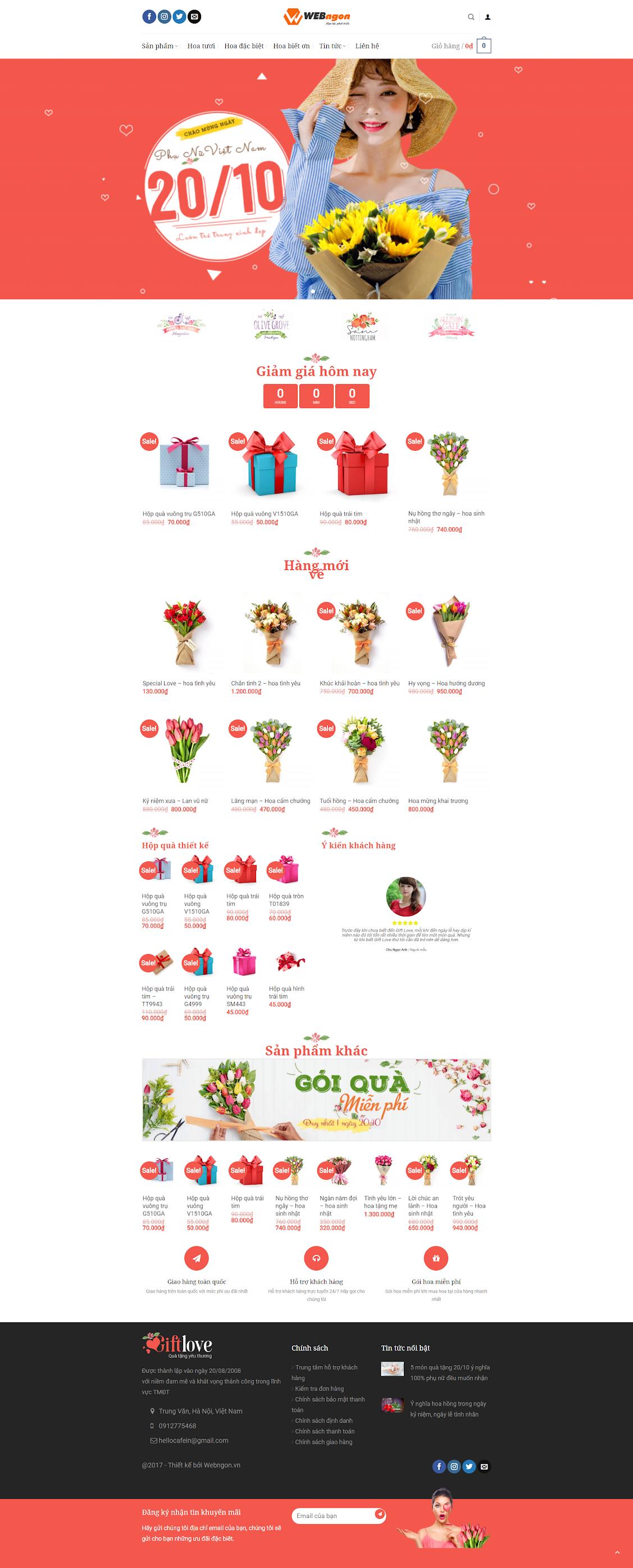 mẫu bán hoa, quà tặng con gái wn043