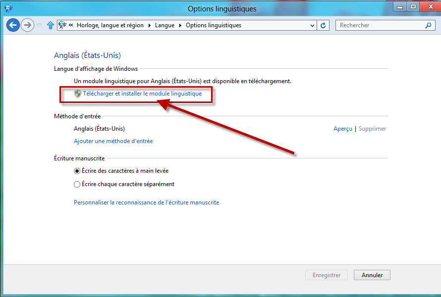 et installer le module linguistique windows 8.1