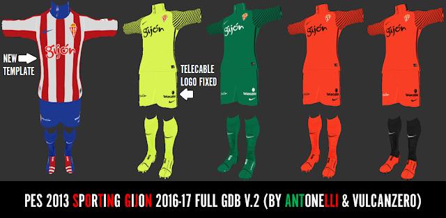 PES 2013 Sporting Gijon 2016-17 Full GDB V.2 BY ANTONELLI & VULCANZERO