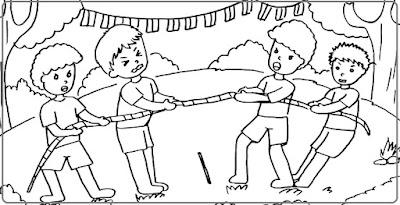 Mewarnai Gambar Lomba Tarik Tambang Untuk TK