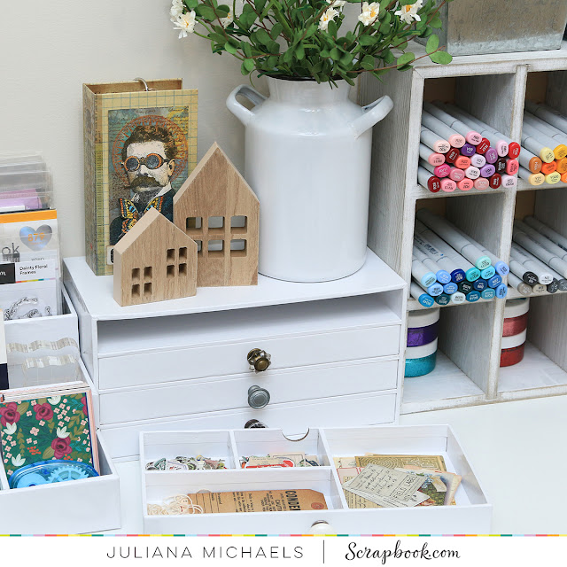 Scrapbook.com Exclusive Craft Room Storage Ideas featuring their 4 Drawer Organizer, Stadium Storage, 4x6 Clear Storage Case and Storage Jars