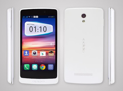 Oppo R815T Clover Specifications - LAUNCH Announced 2013, April DISPLAY Type IPS LCD capacitive touchscreen, 16M colors Size 4.3 inches (~60.9% screen-to-body ratio) Resolution 480 x 800 pixels (~217 ppi pixel density) Multitouch Yes BODY Dimensions 129.6 x 66.7 x 9.8 mm (5.10 x 2.63 x 0.39 in) Weight 141.5 g (4.97 oz) SIM Mini-SIM PLATFORM OS Android OS, v4.2.1 (Jelly Bean) CPU Quad-core 1.2 GHz Cortex-A7 Chipset Mediatek MT6589 GPU PowerVR SGX544 MEMORY Card slot microSD, up to 32 GB (dedicated slot) Internal Internal 4 GB, 1 GB RAM CAMERA Primary 5 MP, autofocus, LED flash Secondary 2 MP Features Geo-tagging, touch focus, face detection, HDR Video Yes NETWORK Technology GSM / HSPA 2G bands GSM 850 / 900 / 1800 / 1900 3G bands HSDPA 850 / 1900 / 2100 Speed HSPA 42.2/5.76 Mbps GPRS Yes EDGE Yes COMMS WLAN Wi-Fi 802.11 b/g/n, hotspot NFC Yes GPS Yes, with A-GPS USB microUSB v2.0 Radio No Bluetooth v4.0, A2DP FEATURES Sensors Accelerometer, proximity Messaging SMS (threaded view), MMS, Email, Push Email Browser HTML5 Java No SOUND Alert types Vibration; MP3, WAV ringtones Loudspeaker Yes 3.5mm jack Yes BATTERY Removable Li-Ion 1700 mAh battery Stand-by Up to 300 h (2G) / Up to 250 h (3G) Talk time Up to 8 h 40 min (2G) / Up to 8 h (3G) Music play  MISC Colors White  - MP4/H.264/WMV player - MP3/eAAC+/WMA/WAV/Flac player - Document viewer - Photo viewer/editor - Voice memo/dial