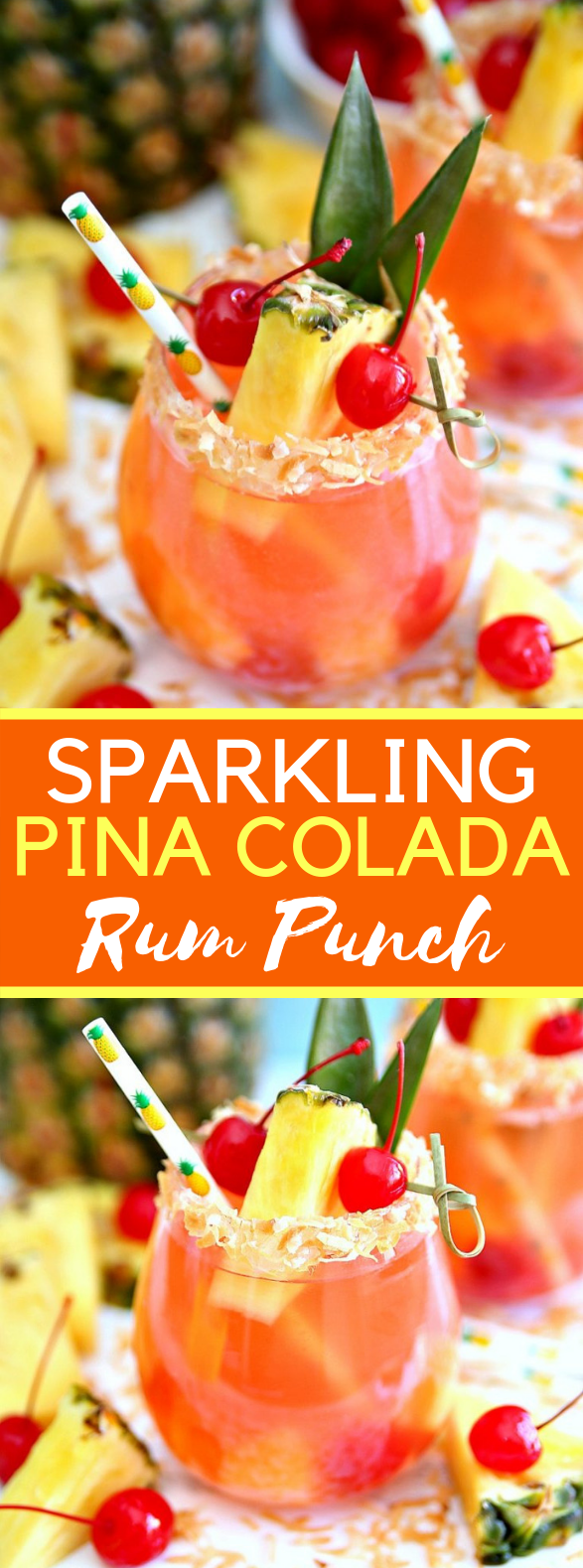 Sparkling Pina Colada Rum Punch #drinks #cocktails
