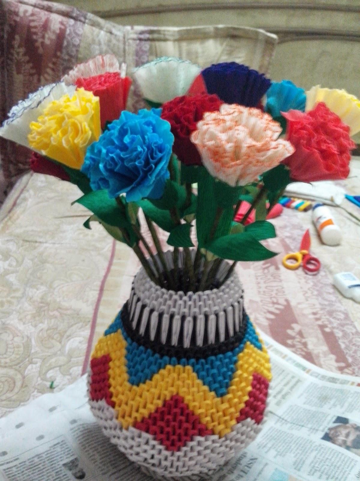 Papercraft 3D Origami Tall Flower Vase   PapercraftSquare.com   1600x1200
