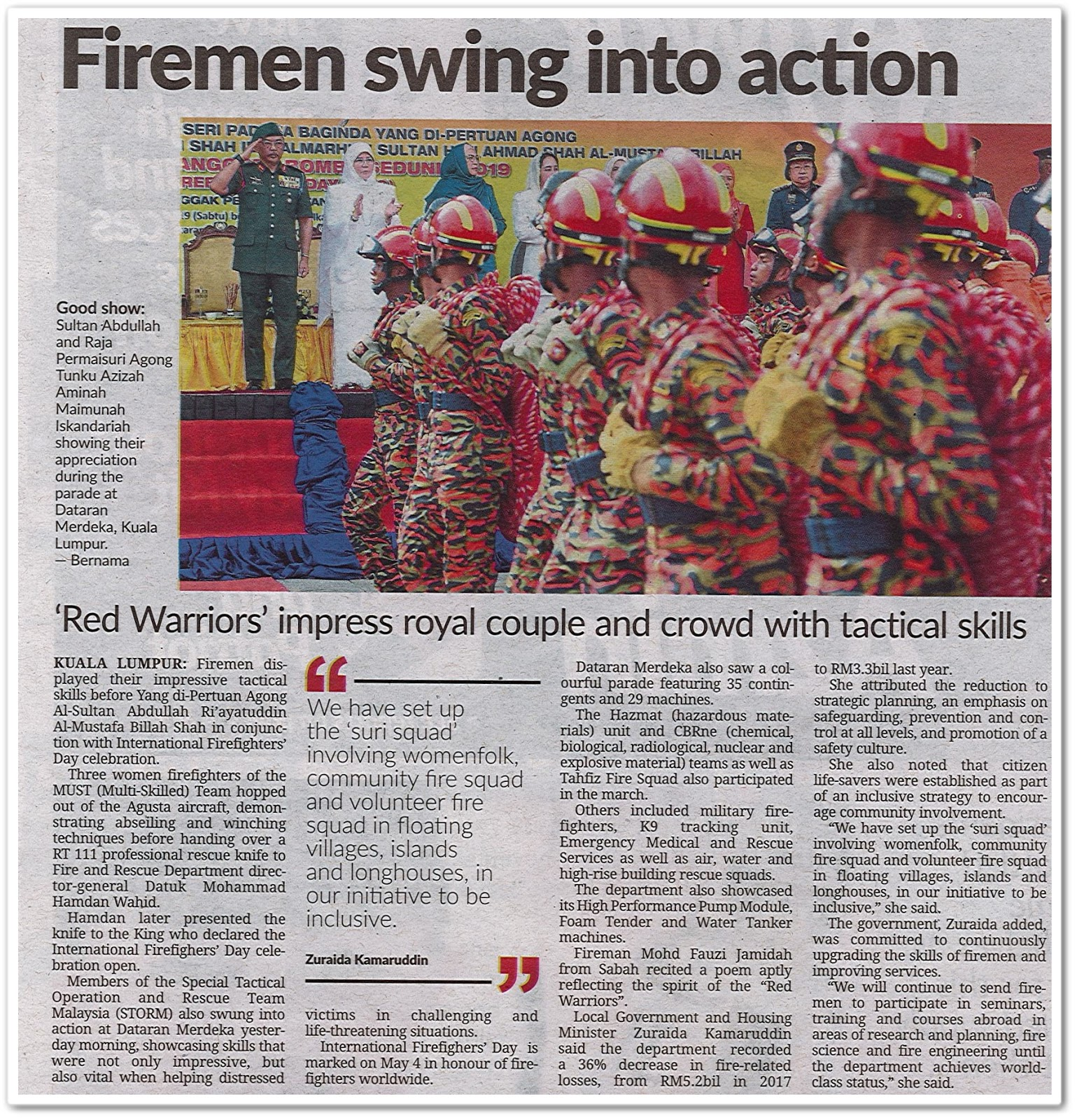 Firemen swing into action - Keratan akhbar Sunday Star 21 July 2019