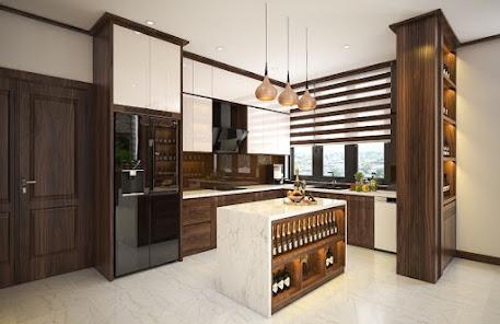 Mẫu tủ bếp kết hợp với đảo bếp